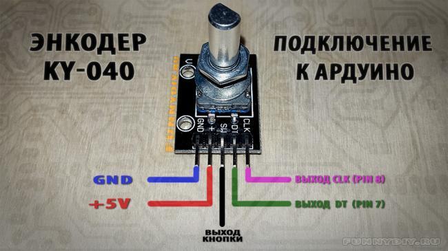 Схема подключения энкодера модуля KY-040 к arduino